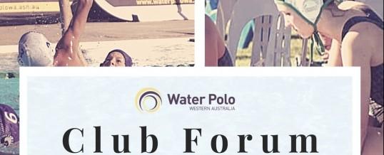 Water Polo WA Club Forum – 15th August